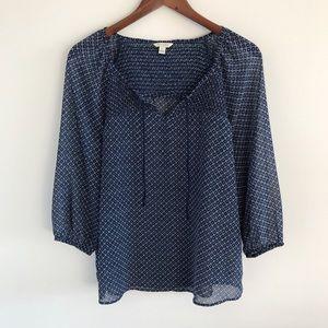 Sonoma Blue Print Sheer Peasant Blouse L
